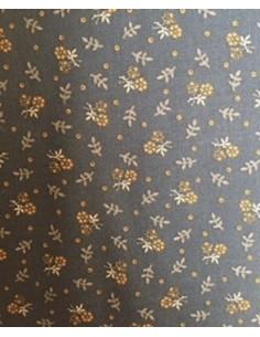 Tela patchwork marrón chocolate con flores naranjas, Colección básicos
