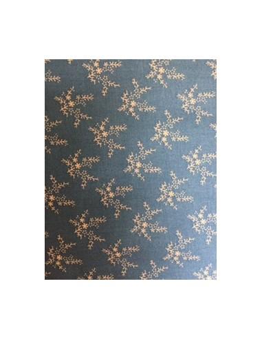 Tela patchwork azul medio con hojas color tostado, Colección básicos