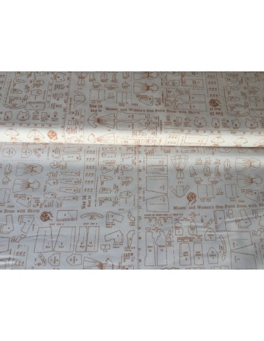 Tela blanca con patrones de costura Lori Holt Bee Happy