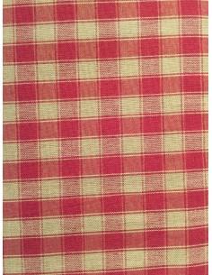 Tela patchwork cuadros country rojos y beis