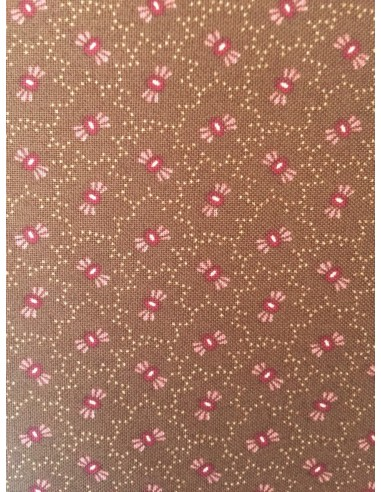 Tela patchwork marrón con flores rosas, Colección básicos