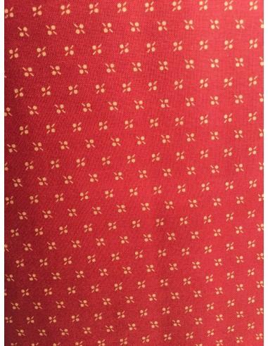 Tela patchwork roja burdeos con flores tostadas, Colección básicos