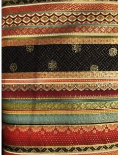 Tela Patchwork japonesa Zen Oasis lineas de colores y dorado