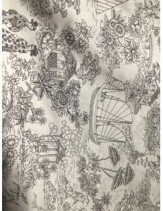 Tela Patchwork japonesa blanca con dibujos en línea negros