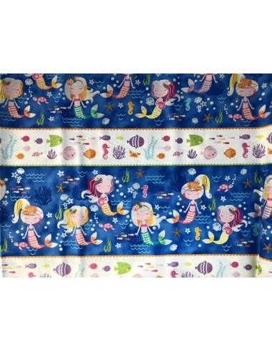 Panel azul sirenitas y peces Mermaid Wishes glitter brillante Northcott
