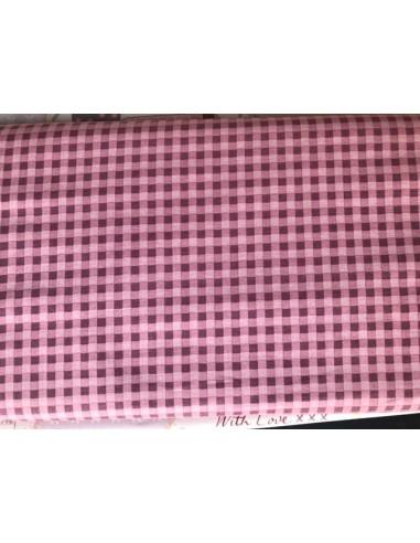 Tela patchwork  rosa con cuadros Veronique Requena colección Country Chic