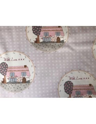 Tela patchwork  beis con casas Veronique Requena colección Country Chic