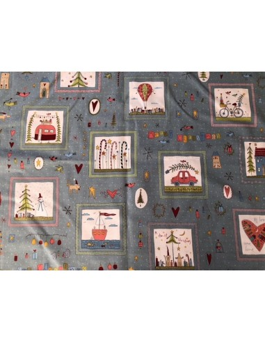 Tela patchwork Panel azul Home for Christmas Anni Downs