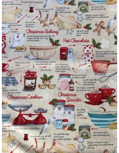 Panel recetas y accesorios cocina Sugar and spice karen tye bentley Northcott