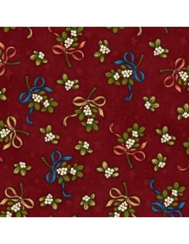 Tela roja ramos flores navidad de Leanne Anderson de The Whole Country Caboodle