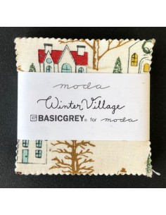"Mini charm 2 1/2"" Winter Village pack 42 telas Moda"
