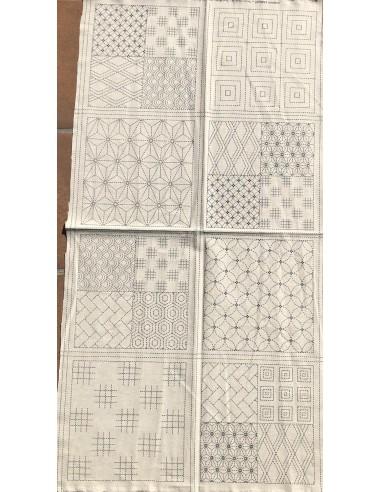 Panel tela impresa Sashiko tela beis