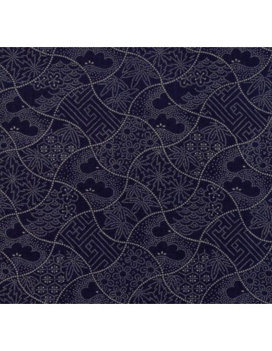 Tela patchwork boro azul marino curvas