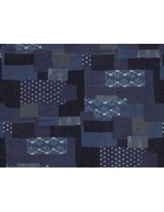 Tela patchwork boro diferentes tejidos azul marino