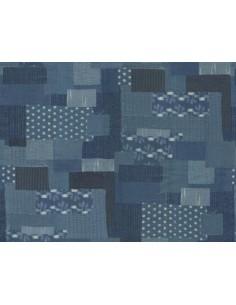 Tela patchwork boro diferentes tejidos azul vaquero