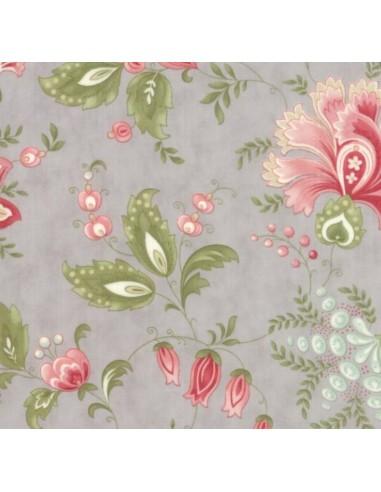 Tela patchwork gris clara flores grandes Porcelain 3 Sisters