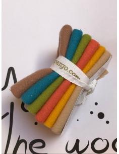 Pack telas lana Sue Spargo tonos beises, amarillo, naranja, verde y azul