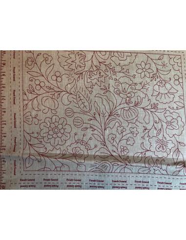 Panel rojo bordado lino impreso 4...
