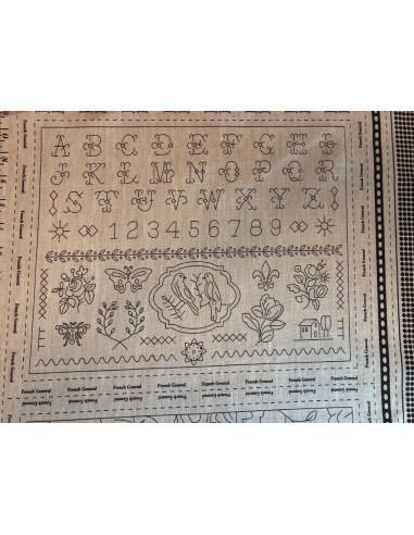 Panel sepia bordado lino impreso 4...