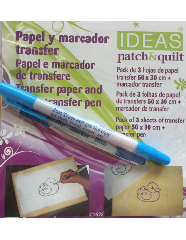 Pack 3 hojas transfer más rotulador