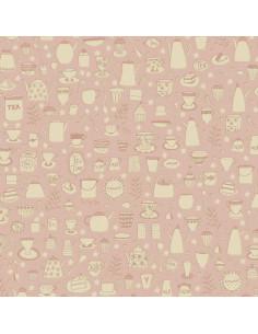 Tela rosa con vajilla de té...