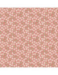 Tela rosa mini flores beis...