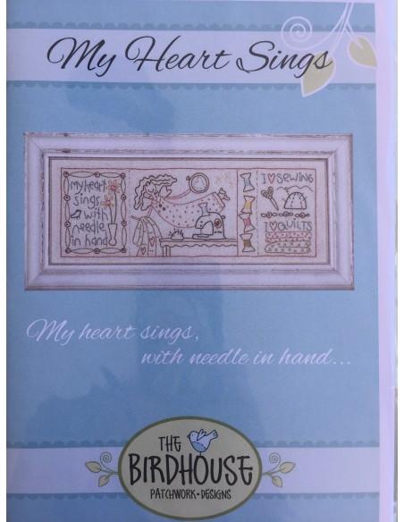 Patrón con tela impresa bordado My Heart Sings, The Bird House