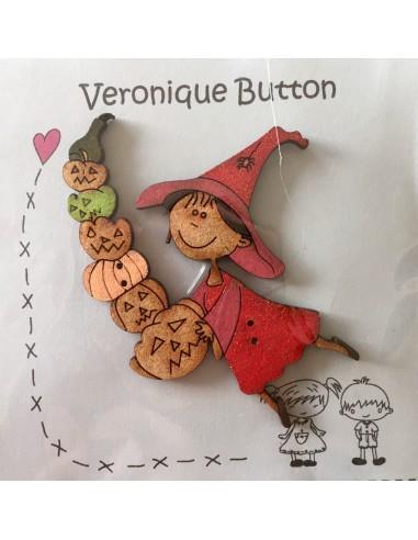 Botón Veronique Button Halloween bruja y calabazas