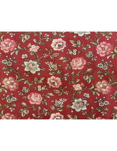 Tela roja con flores rosas y beis La...