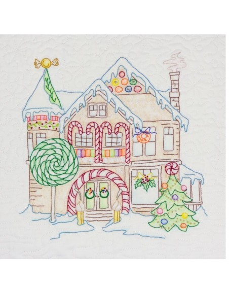 Peppermint Arch House Gingerbread Square Crab Apple Hill bordado