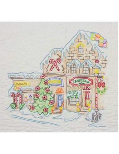 Main Street Shops bloque 9 Gingerbread Square Crab Apple Hill bordado