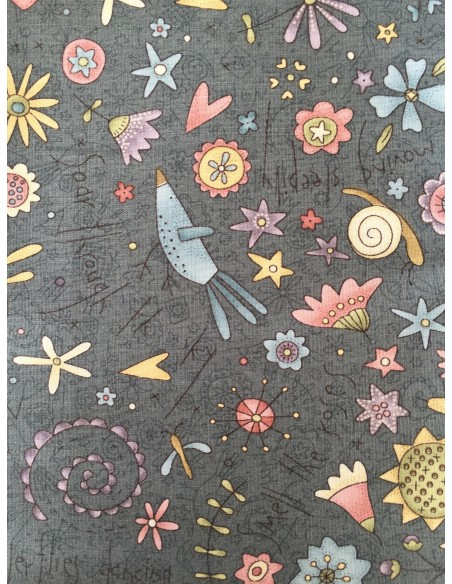 Tela patchwork panel Anni Downs Garden Whimsy  gris marengo