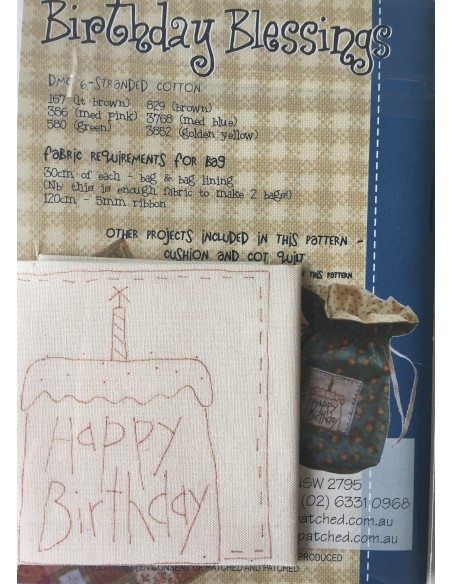 Patrón Birthday Blessings Anni Downs bolsa de cumpleaños