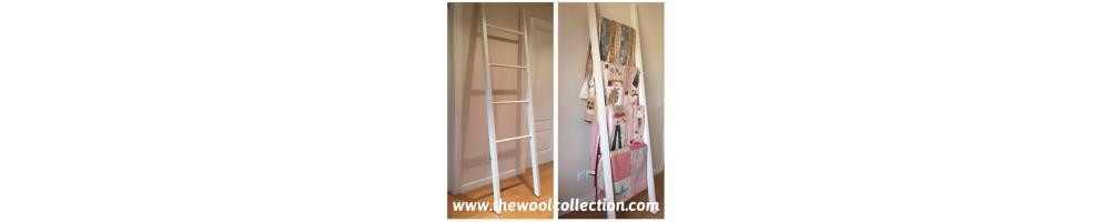 estantería tipo escalera colgar quilts en madera pino blanca
