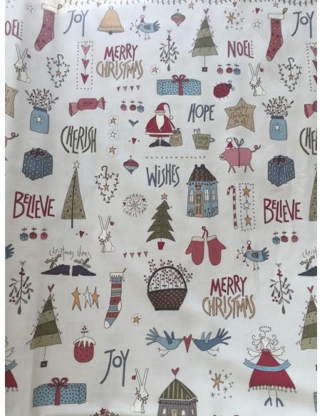 Tela de Navidad Celebrating Christmas estrellas crudo Anni Downs