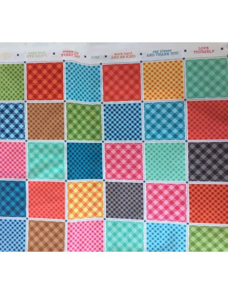 Tela panel en color Multi Basics busy patchwork de Lori Holt