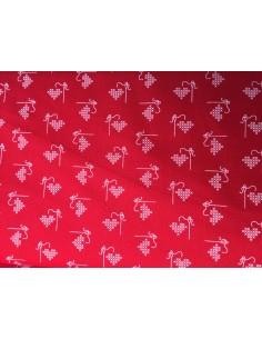 Tela roja con corazones en punto de cruz Lori Holt Bee Happy
