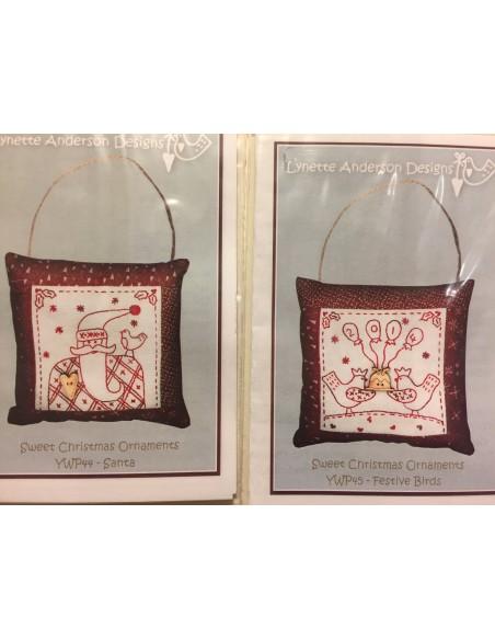 kit colección 12 Bordados Red Work Adorno puertas Navidad Lynette Anderson