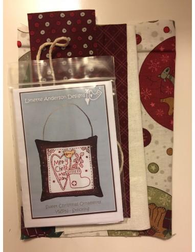 kit colección con 1 Bordado Corazón. Red Work Adorno puertas Navidad Lynette Anderson