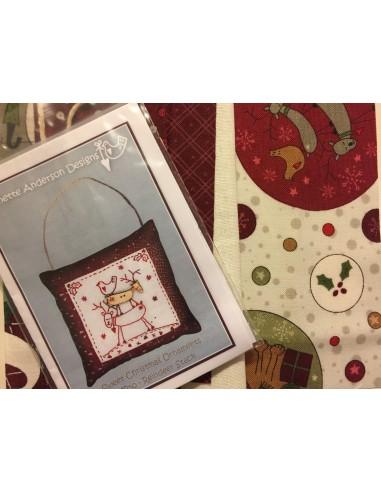 kit colección con 1 Bordado Renos. Red Work Adorno puertas Navidad Lynette Anderson
