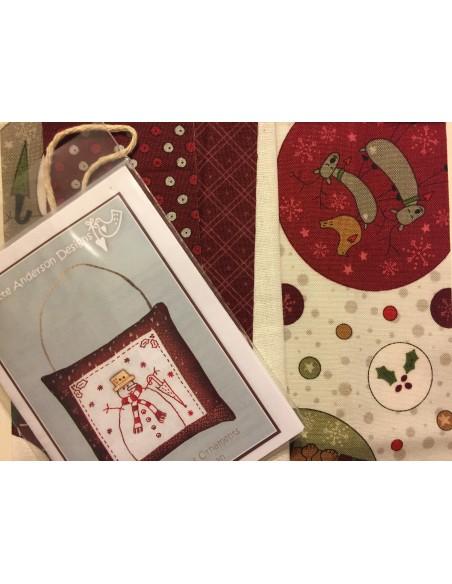 kit colección con 1 Bordado Muñeco Nieve. Red Work Adorno puertas Navidad Lynette Anderson