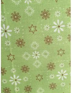 Tela verde flores y estrellas trasera y bordes Lori Holt Bee Happy