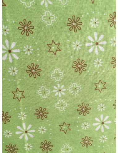 Especial: Ancho tela 270cm Tela verde flores y estrellas trasera y bordes Lori Holt Bee Happy