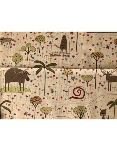 Tela patchwork Panel de la colección The Zoo Anni Downs