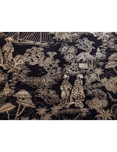 Tela Patchwork japonesa negra con dibujos en línea dorados