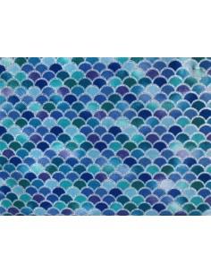 Tela olas azul purpurina Mermaid Wishes glitter brillante Northcott