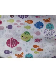 Tela peces purpurina Mermaid Wishes glitter brillante Northcott