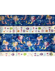 Panel azul sirenitas y peces Mermaid Wishes glitter brillante Northcott