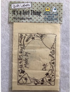 Etiquetas tela para patchwork Hatched and Patched It´s a girl thing