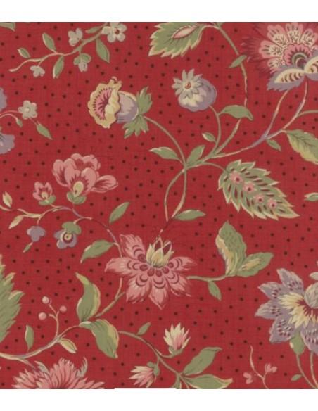 Tela patchwork roja con flores grandes, Jardín de Versailles de French General